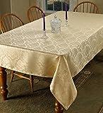 Violet Linen European Damask Design Oblong/Rectangle Tablecloth, 60' x 84', Gold