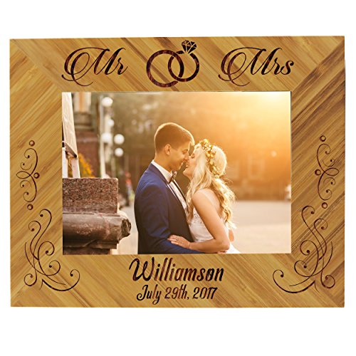 Personalized Wedding Gift Bamboo Wood Picture Frame - Custom Engraved Newlywed Photo Gifts (Rings Style, 5 x 7) (Engraved Frame Picture Wood)