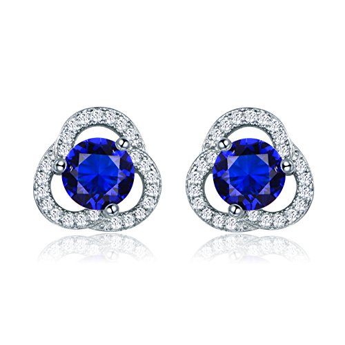 Floral Wrapped Gemstone - MASOP Round Deep Blue Round Cubic Zirconia Stud Floral Earrings Silver Tone