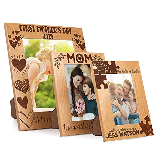 - Personalized Alder Wood Mom Vertical Picture Frame | 4x6, 5x7, 8x10 | Choose Your Design & Size, Gifts for Grandma Portrait Picture Frame Wood