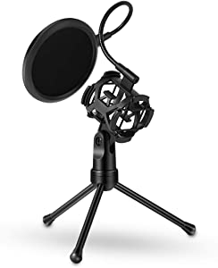 Vilihy Desktop Microphone Tripod Stand, Shock Mount Desk Mic Holder with Pop Filter Net for Podcast Chatting Meeting Live Lecture