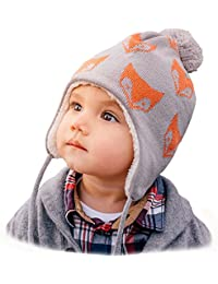 Baby Toddler Winter Earflap Beanie Hat or Mittens