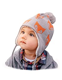 Baby Toddler Warm Fleece-Lined Ear-Flap Beanies, Knit Winter Hats or Mittens or Sets