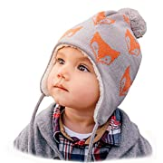 Twinklebelle Baby Toddler Winter Hats & Mittens Fleece Lined Unisex (S: 3-9 Months, Hat & Thumbless Mitten Set: Grey Bear)