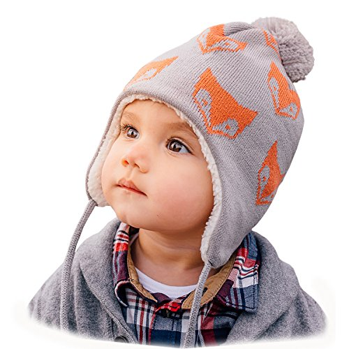 Baby Toddler Kids Fall Winter Ear-Flap Beanie Hat (M: 6-24 Months, ()