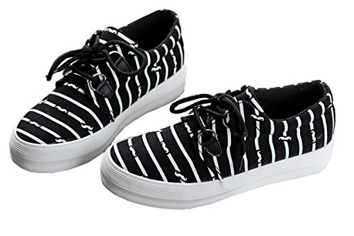 top-shop-womens-canvas-striped-lace-up-trainers-buckle-slip-on-sneakers-black-flatus-6