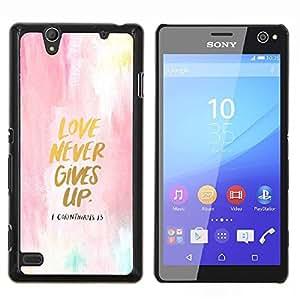 El amor nunca se da por vencido Acuarela Oro texto- Metal de aluminio y de plástico duro Caja del teléfono - Negro - Sony Xperia C4 E5303 E5306 E5353