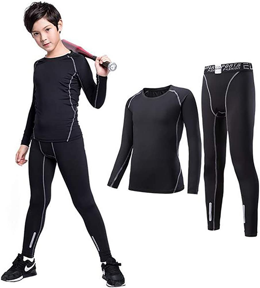 TOPTIE Boys Athletic Compression Pants and Shirts Base Layer Set Running Tights Leggings