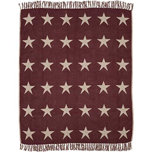 VHC Brands Classic Country Primitive Pillows Star Red Woven Throw, Burgundy (Star Burgundy)