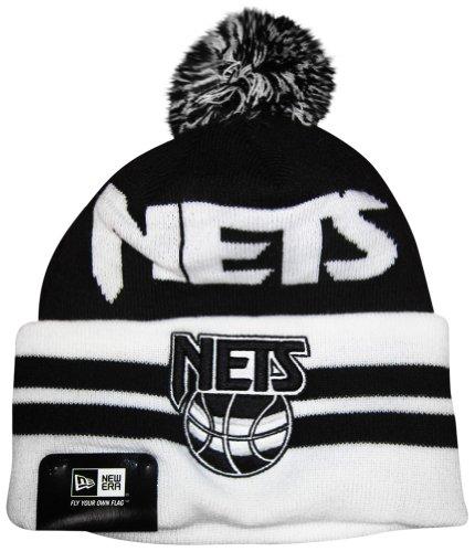 Jersey New Acrylic Nets (New Jersey Nets Wide Point Cuffed Pom Knit Cap / Beanie)