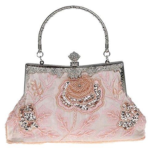 Handbags Wedding EPLAZA Retro Party Champagne Purse Clutch Bead Women Evening Flora Satin Bags xwxTS6qO8