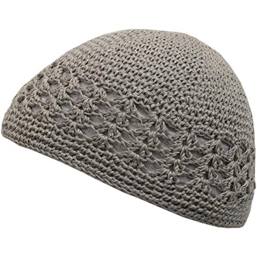 - Shoe String King SSK Knit Kufi Hat - Koopy Cap - Crochet Beanie (Gray)