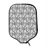 YOLIYANA Floral Durable Racket Cover,Flower Silhouettes with Lace Patterned Background Leaves Swirls Dots Abstract Image Decorative for Sandbeach,One Size