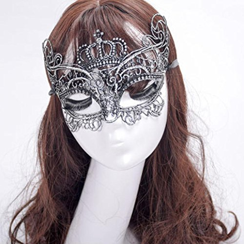 Clearance Sale!DEESEE(TM)Elegant Crown Lace Cut Venetian Halloween Ball Masquerade Luxury Mask (Silver) -