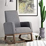 Giantex Upholstered Rocking Chair, Modern High Back Armchair, Comfortable Rocker Fabric Padded Seat Wood Base, Rocking Chair for Nursery, Gray
