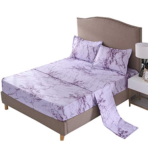 NTBED Marble Sheet Set (Flat Sheet +Fitted Sheet+Pillowcases), Brushed Bedding Sets (Purple, Queen)