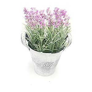 LODESTAR Artificial Fake Lavender Flower Bouquet in Rustic Can Metal Basket Indoor Outdoor Home Decoration 78