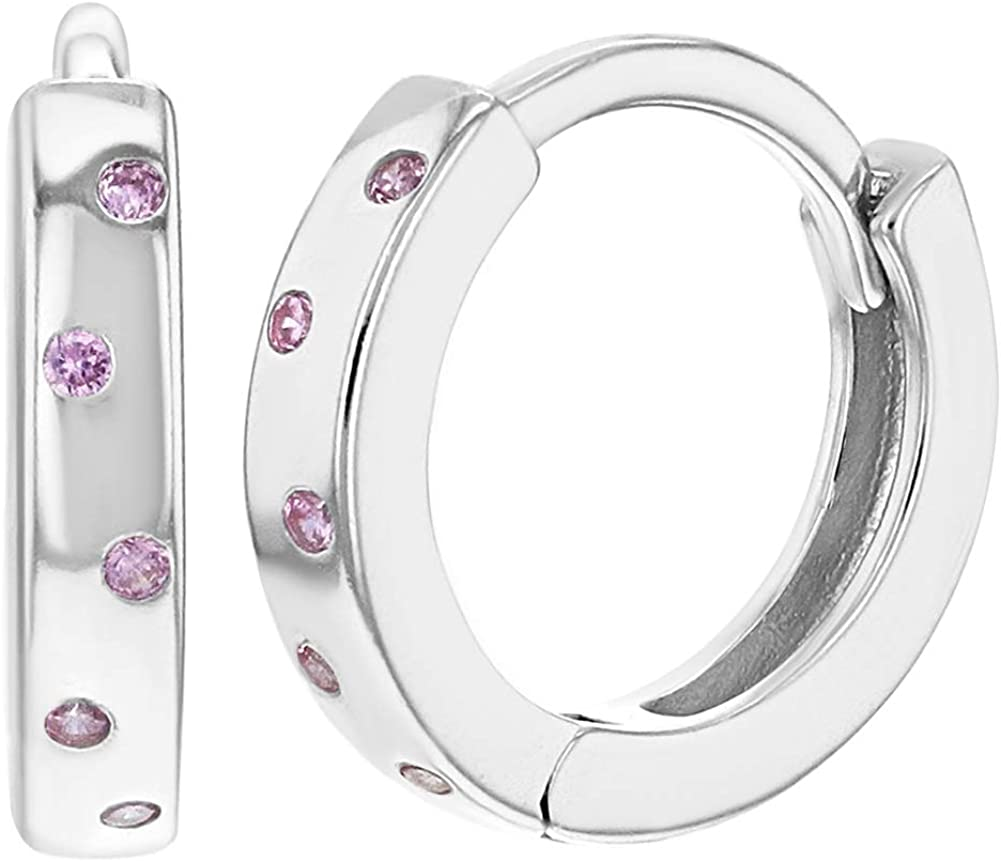 925 Sterling Silver Cubic Zirconia Dots Huggie Hoop Earrings for Girls or Teens