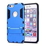 iPhone 6 Plus Case,iPhone 6s Plus case,Ebakx [Ironman Kickstand] Heavy Duty Hybrid Dual Layer Armor Defender Full Body Protective Case Cover for Apple iPhone 6s/iPhone 6 Plus case, (Silver) (Blue)