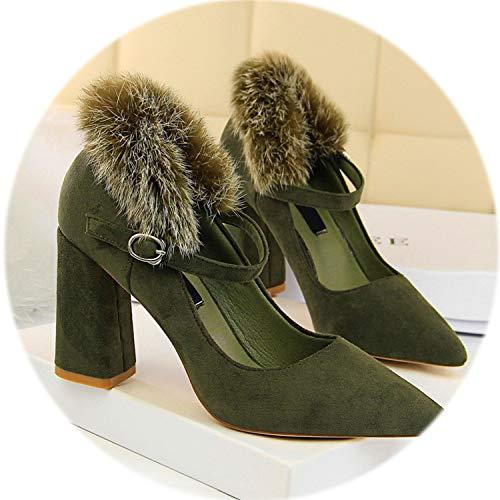 (Faux Fur Elegant Women's High Heels Shoes 2019 Buckle Solid Flock Shallow Women)