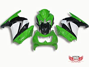 VITCIK (Fairing Kits Fit for Kawasaki EX250R Ninja 250 EX-250R ZX250 2008 2009 2010 2011 2012 Plastic ABS Injection Mold Complete Motorcycle Body Aftermarket Bodywork Frame (Green & Black) A011