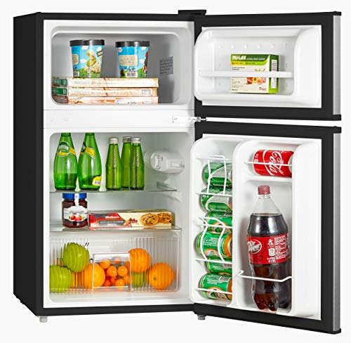 Midea WHD-113FSS1 Double Door Mini Fridge with Freezer for Bedroom Office or Dorm with Adjustable Remove Glass Shelves Compact Refrigerator 3.1 cu ft, Stainless Steel