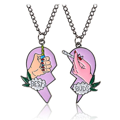 (Necklace Opeof Fashion Best Buds Print Cigarette Lighter Partly Heart Shape Necklace Pendant)