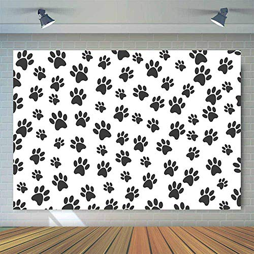 Allenjoy 7x5ft Puppy Dog Paw Cartoon Backdrop for Boys Birthday Pet Theme Party Banner Kids Photography Background Cake Table Decorations Photobooth ()
