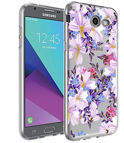 Galaxy J7 V Case,Galaxy J7 Prime Case, BAISRKE Slim Shockproof Purple Floral Pattern Soft Flexible TPU Back Cove for Galaxy J7 V / J7 2017 / J7 Prime / J7 Perx / J7 Sky Pro/Galaxy Halo