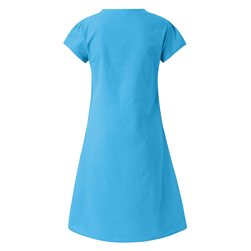 Opinionated Womens Large Size Womens Summer Cotton Linen V-Neck Solid Color Print Dress Casual Loose T-Shirt Dress