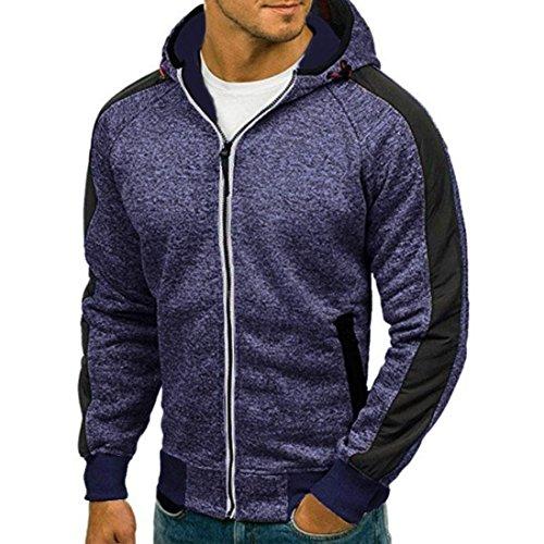 (vermers Mens Zipper Hoodie Clearance - Men's Autumn Casual Patchwork Long Sleeve Hooded Sweatshirt Outwear Tops(M, Blue))