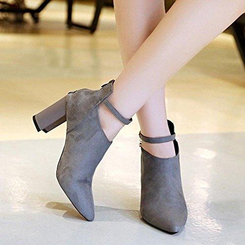 Sintético Zapatos Tobillo Botines Botas Otoño Invierno AIURBAG Cremallera de hasta Tobillo Combate el Botas Botas Hasta Mujer Dedo Puntiagudo gray el wxq8q5S