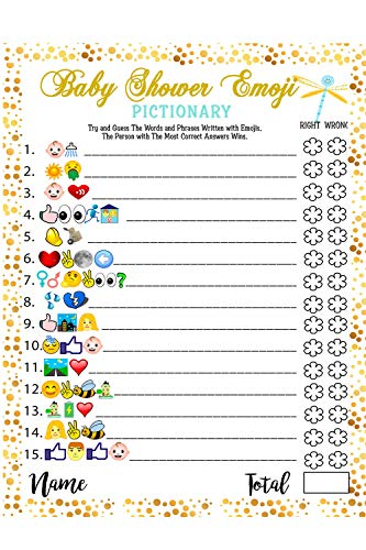 Baby Shower Games - 40 Cards Emoji Pictionary, Fun Guessing Game Girls Boys Babies Gender Neutral Ideas Shower Party, Prizes for Game Winners, Favorite Adults Games for Baby Shower Favors Activities -