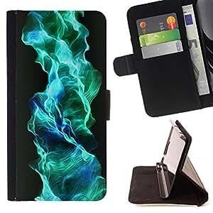 BullDog Case - FOR/Sony Xperia m55w Z3 Compact Mini / - / flame turquoise blue wallpaper gas flow /- Monedero de cuero de la PU Llevar cubierta de la caja con el ID Credit Card Slots Flip funda de cuer