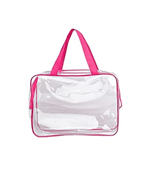 6c938c2e21d1 LAMEIDA Transparent Cosmetic Bag Large Make up Bag for Travel Waterproof  Wash Bag Clear Toiletry Organiser for Women (Rose Red)