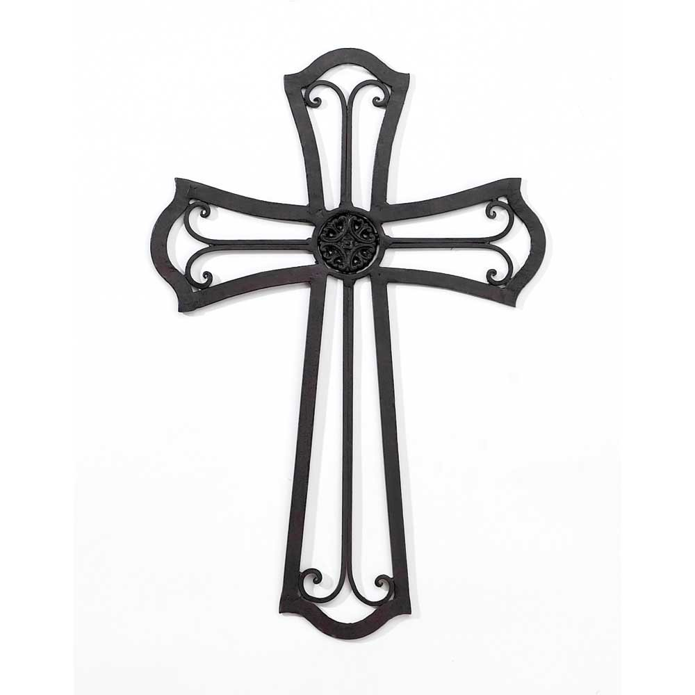 Medallion Open Black 18 Inch Metal Decorative Hanging Wall Cross
