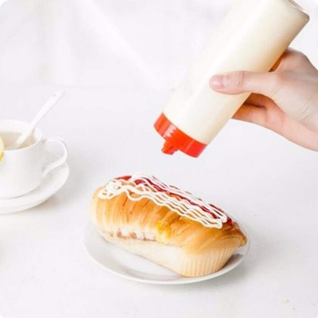 Fangfeen Mayonesa Ensalada de Tomate Botella Salsa Tipo Squeeze 4 Agujero Ketchup dispensador de Utensilios de Cocina para cocinar