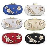 Women's Evening Clutch Bag Satin Flower Pearl Beaded Evening Handbag Bridal Clutch Purse Prom