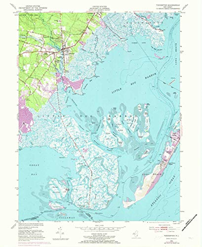 YellowMaps Tuckerton NJ topo map, 1:24000 Scale, 7.5 X 7.5 Minute, Historical, 1952, Updated 1973, 27 x 22.1 in - Paper