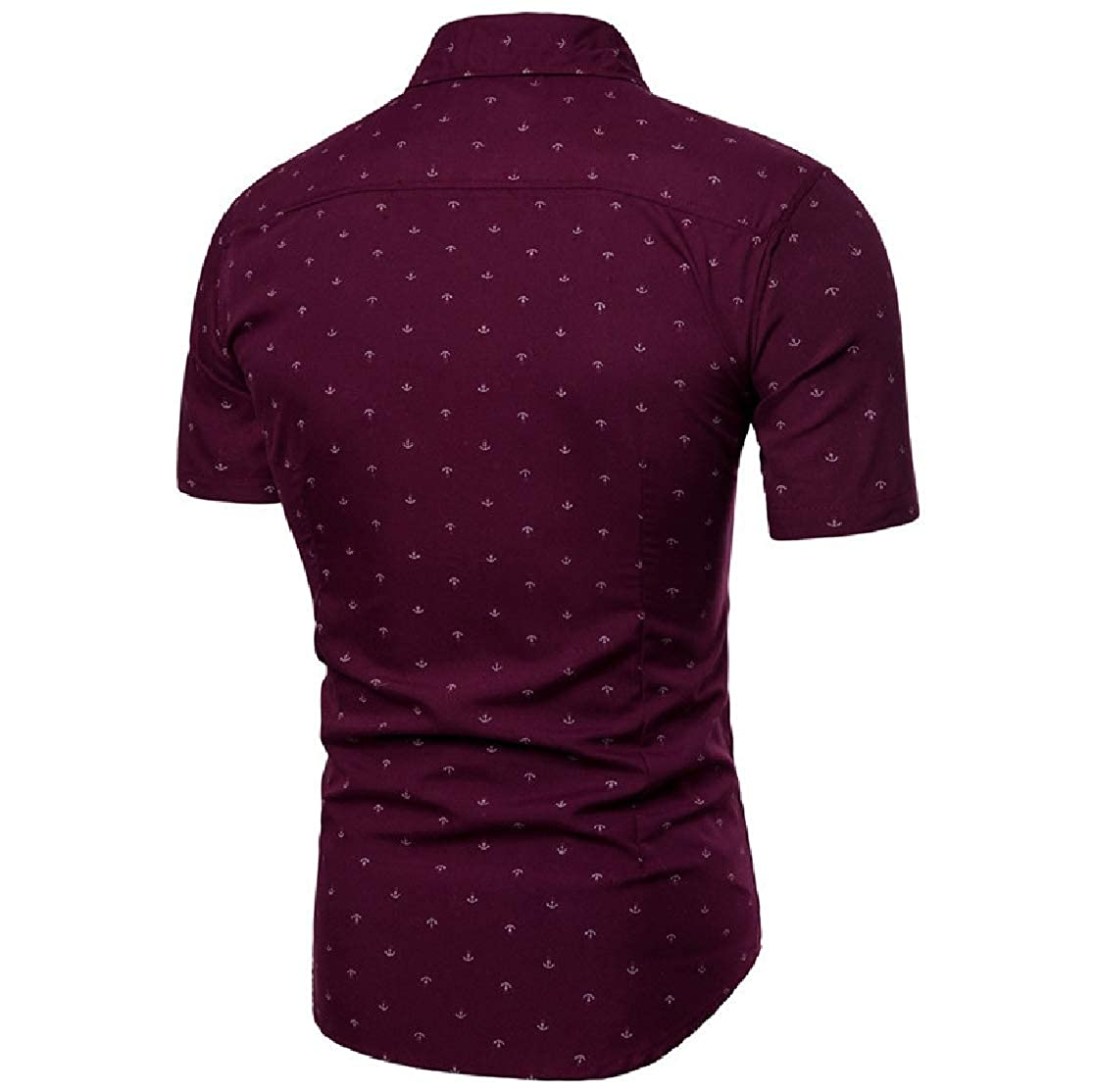 YUNY Men Casual Printing Turn Down Collar Short Sleeve Fitted Shirts Wine Red 2XL