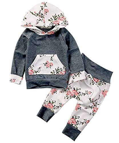Baby Girls Long Sleeve Flowers Hoodie Top and Pants Outfit with Kangaroo Pocket (18-24 Months, Grey) (Best Gifts For 19 Month Old Girl)