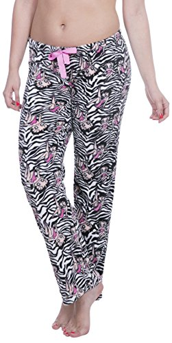 Pants Betty Boop Lounge - Licensed Women's Warm and Cozy Plush Pajama/Lounge Pants (Medium, Zebra)