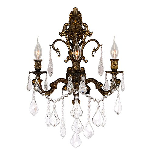 (Worldwide Lighting W23316B17 Versailles 3 Light Crystal Wall Sconce, Antique Bronze Finish and Clear Crystal, Large Fixture, 17