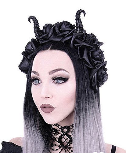 - RE Style Maleficent Horns & Gothic Black Roses Headband