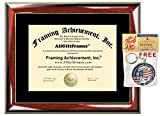 Certificate Frame University Diploma Frames Wood Glossy Prestige Mahogany with Gold Accents Single Black Matted License Document College Diploma Frame