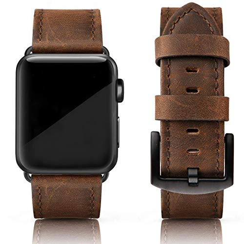 (SWEES Leather Bands Compatible for iWatch 42mm 44mm, Genuine Leather Vintage Replacement Strap Compatible iWatch Apple Watch Series 4 Series 3 Series 2 Series 1, Sports & Edition Men, Retro Walnut)