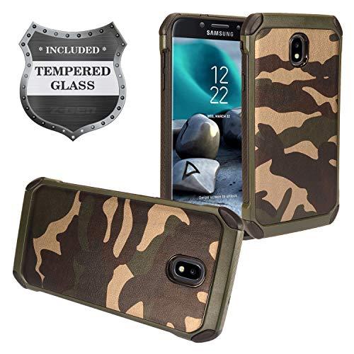 Z-GEN - Galaxy J7 2018, J7 Refine, J7 Star, J7 Crown, J7 Aura, J7 Top, J7 V J7V 2nd Gen J737 - Hybrid TPU Protective Phone Case for Samsung + Tempered Glass Screen Protector - EC4 Green Camo