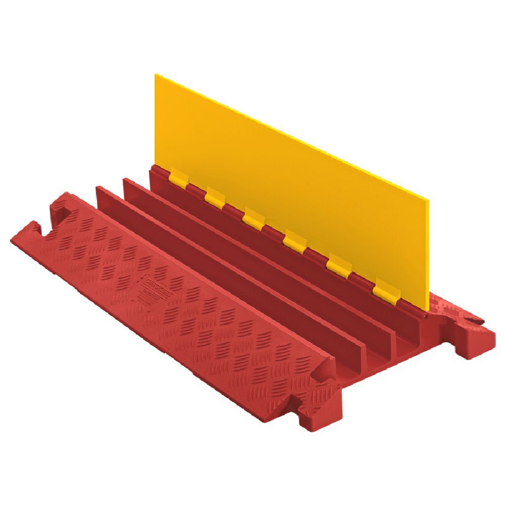 Linebacker CP3X225-Y/O Polyurethane Extra Heavy Duty 3 Channel Cable Protector with T-Shaped Connectors, Yellow Lid with Orange Ramp, 36'' Length, 20'' Width, 3.05'' Height