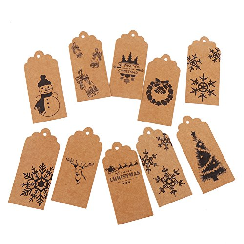 DECORA Pack of 120 Brown Christmas Gift Tags Christmas Brown Labels and 195 Feet Twine- 10 Different Designs ()