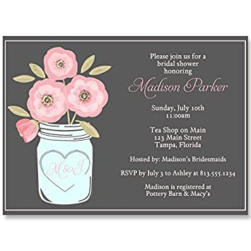 Amazon mason jar bridal shower invitations watercolor flowers mason jar bridal shower invitations watercolor flowers personalized customized wedding shower filmwisefo